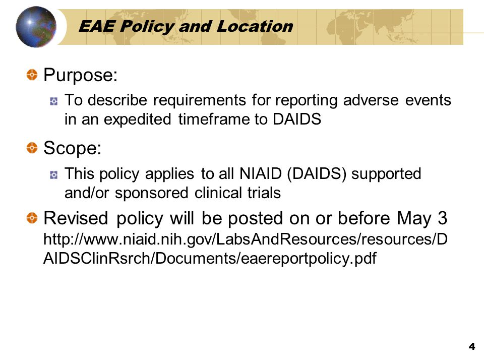 EAE Policy and Location