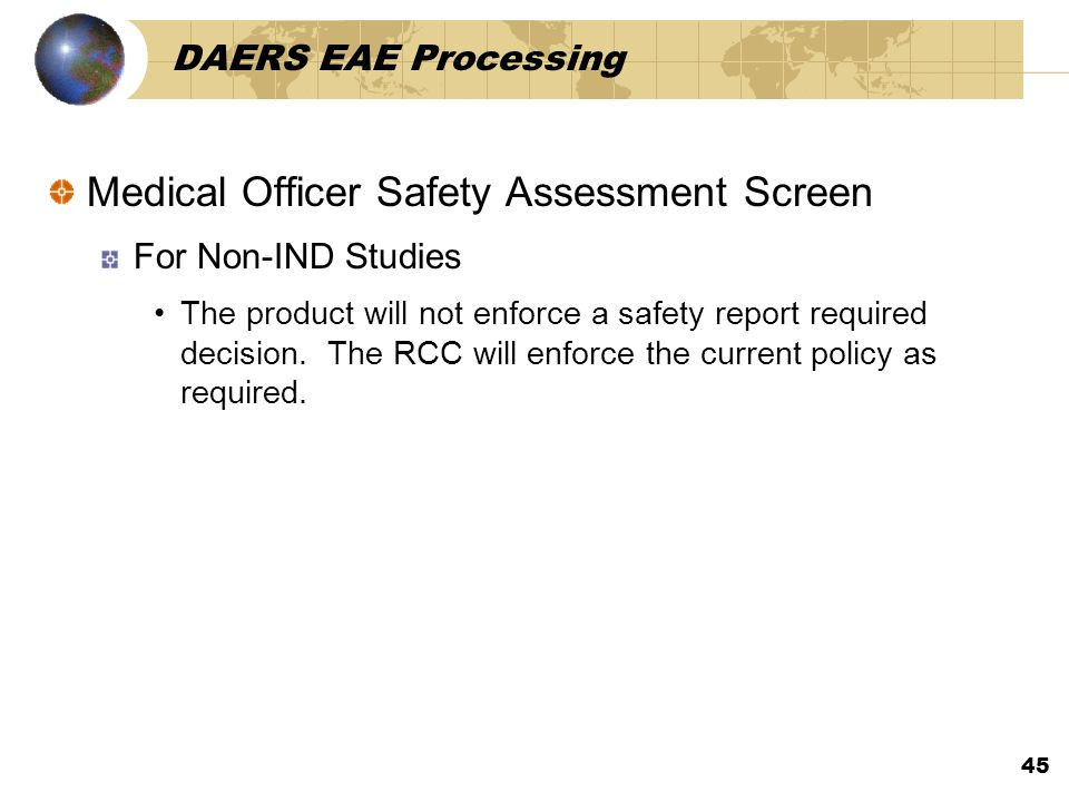 Medical Officer Safety Assessment Screen