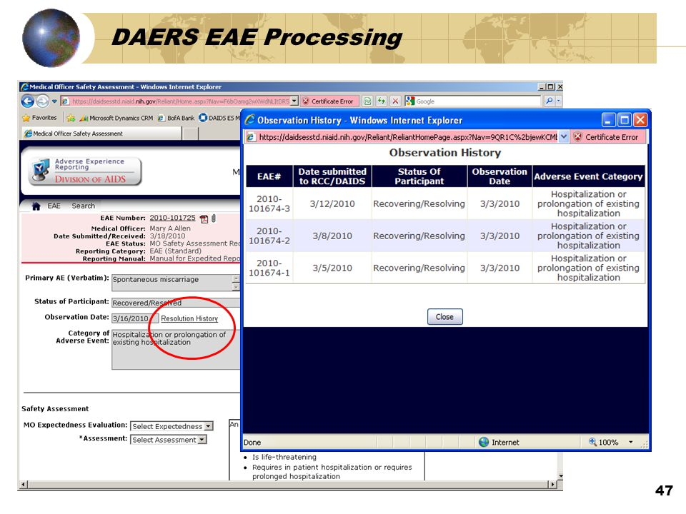 DAERS EAE Processing 47