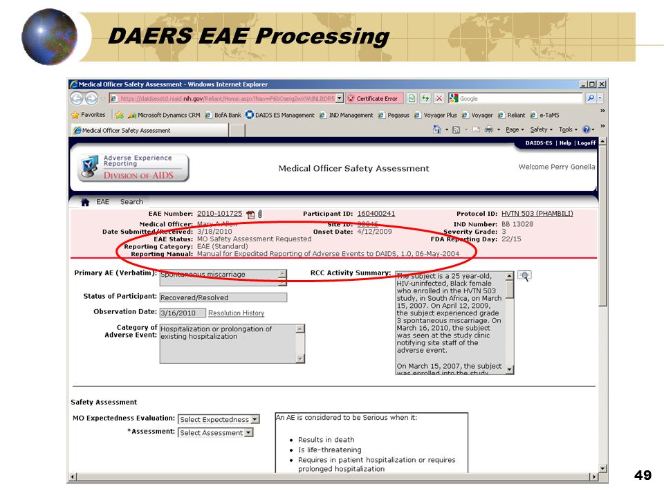 DAERS EAE Processing 49