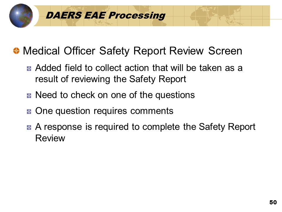 Medical Officer Safety Report Review Screen