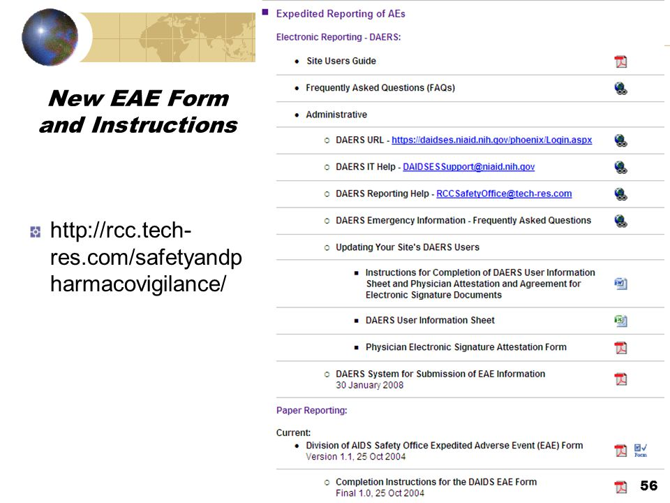 New EAE Form and Instructions