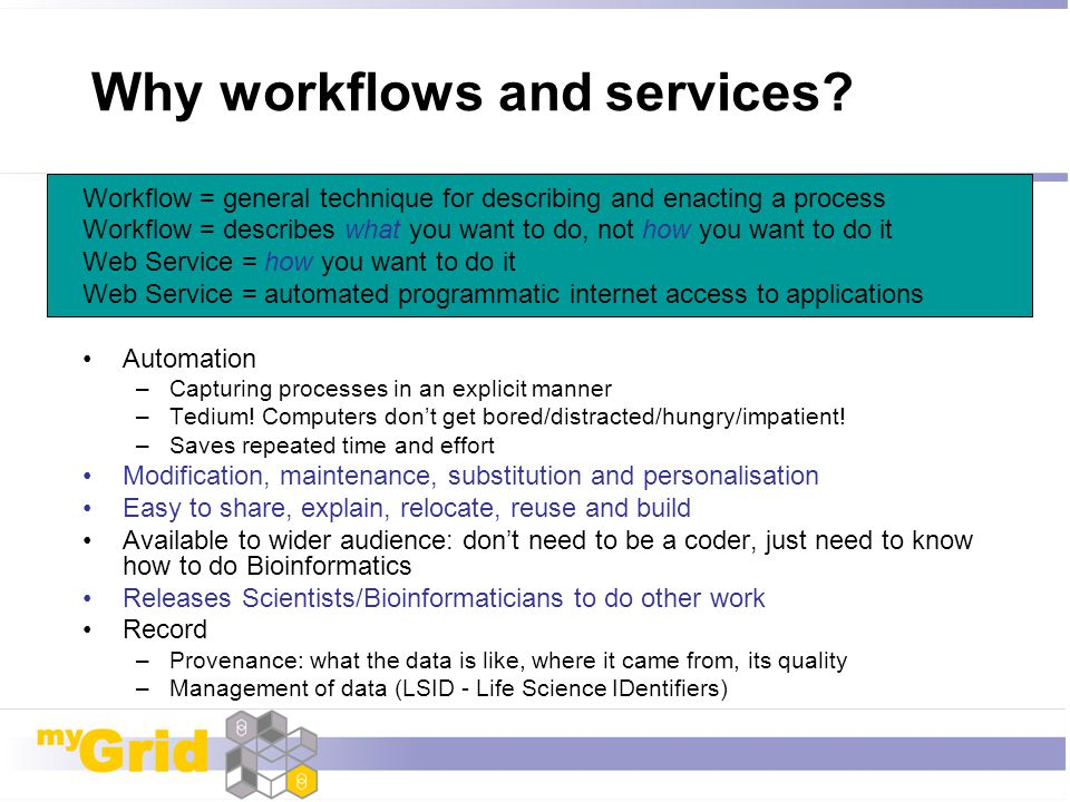 Why workflows and services
