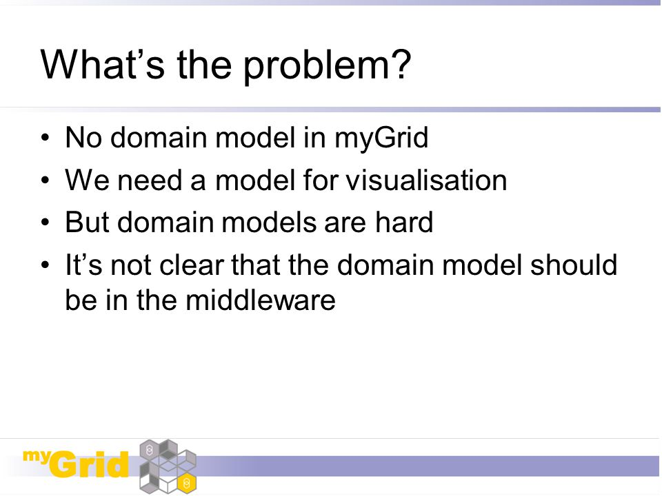What's the problem No domain model in myGrid