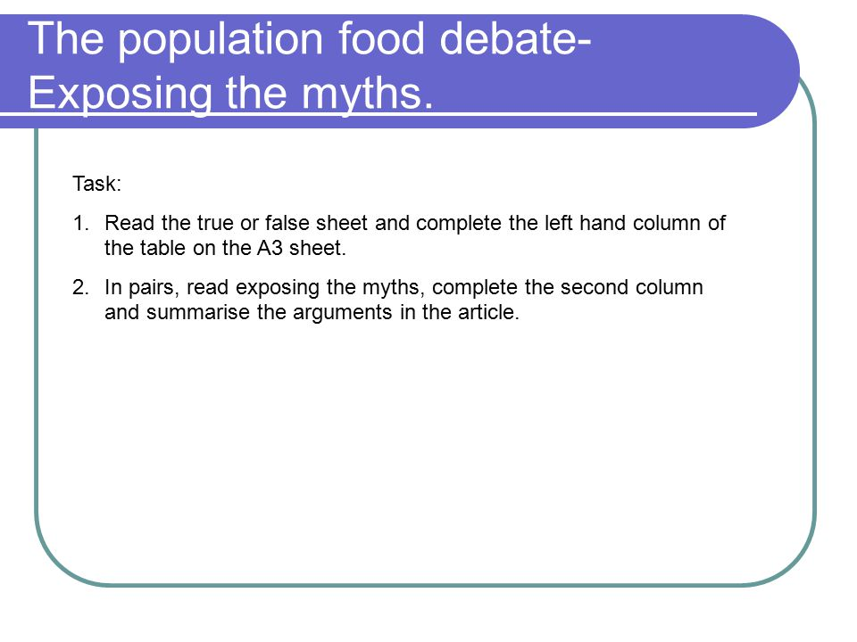 The population food debate-Exposing the myths.