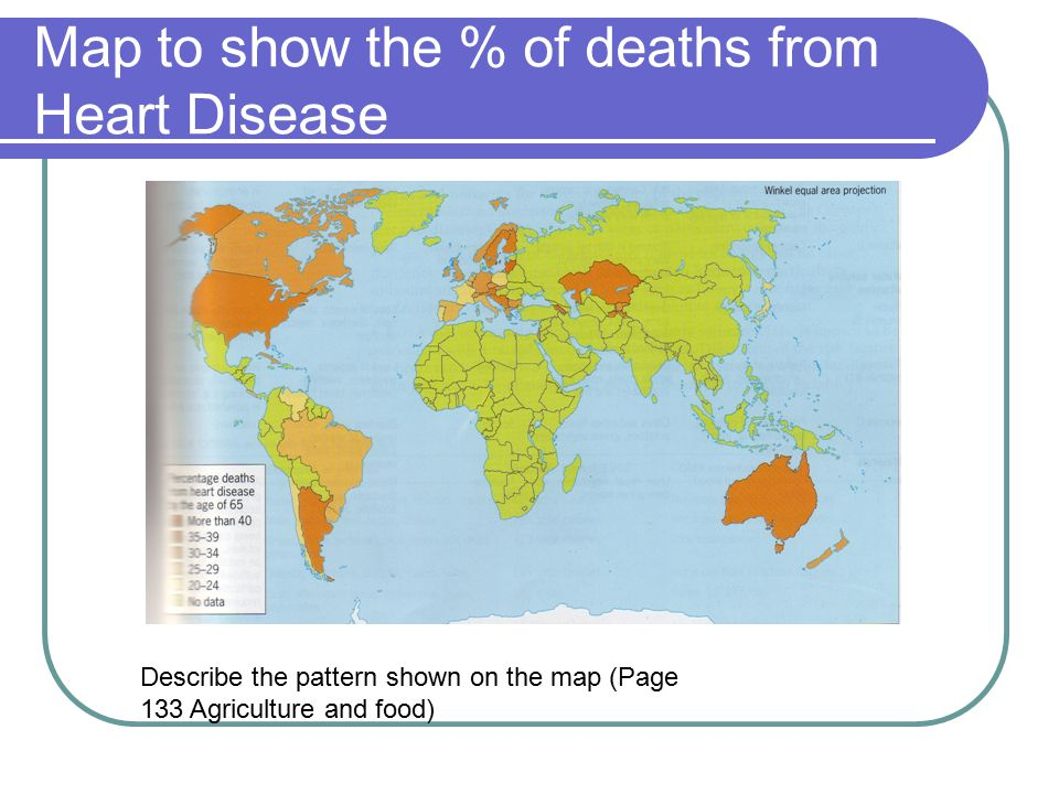 Map to show the % of deaths from Heart Disease