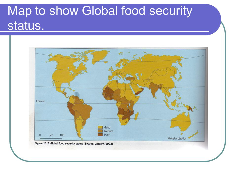 Map to show Global food security status.