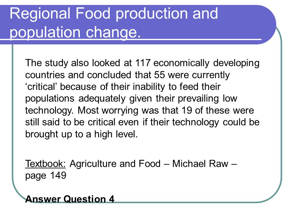 Regional Food production and population change.