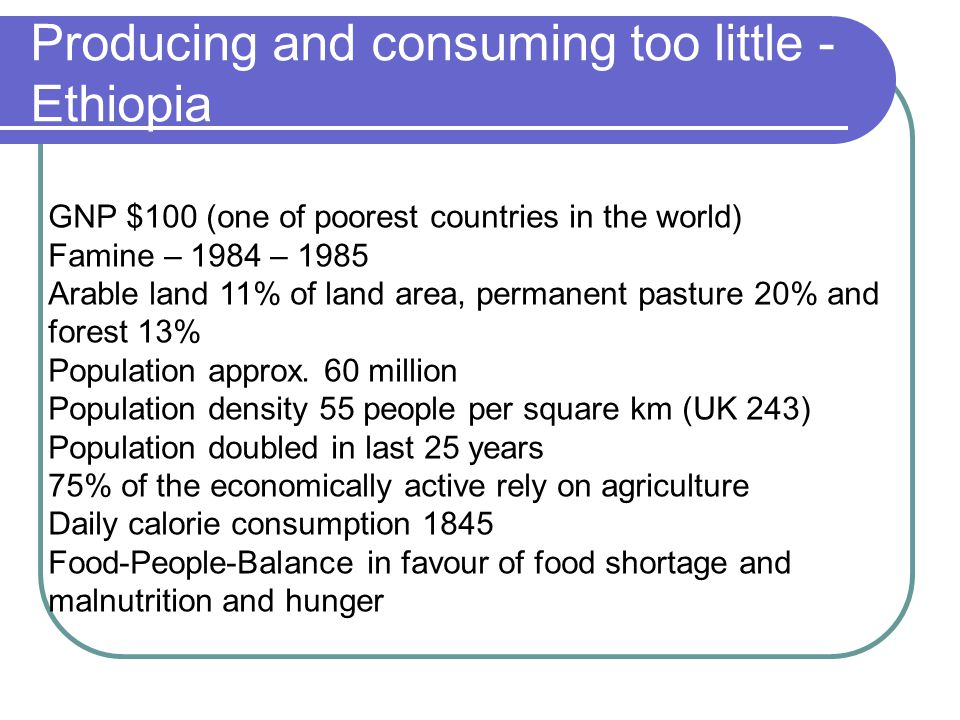 Producing and consuming too little - Ethiopia