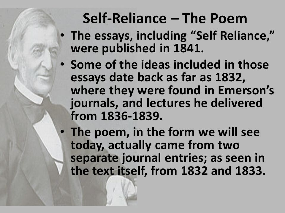 In the essay self-reliance emerson wiki answers - English