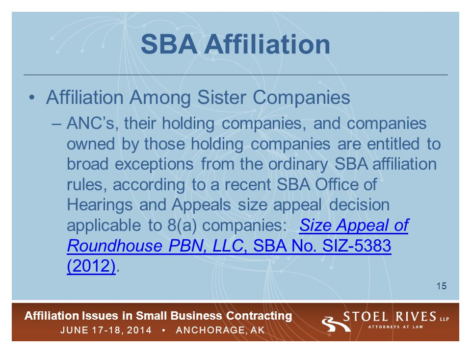 SBA Affiliation Affiliation Among Sister Companies