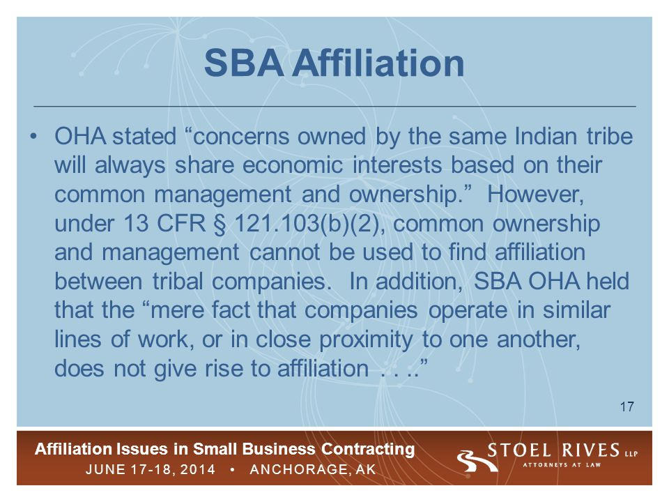 SBA Affiliation
