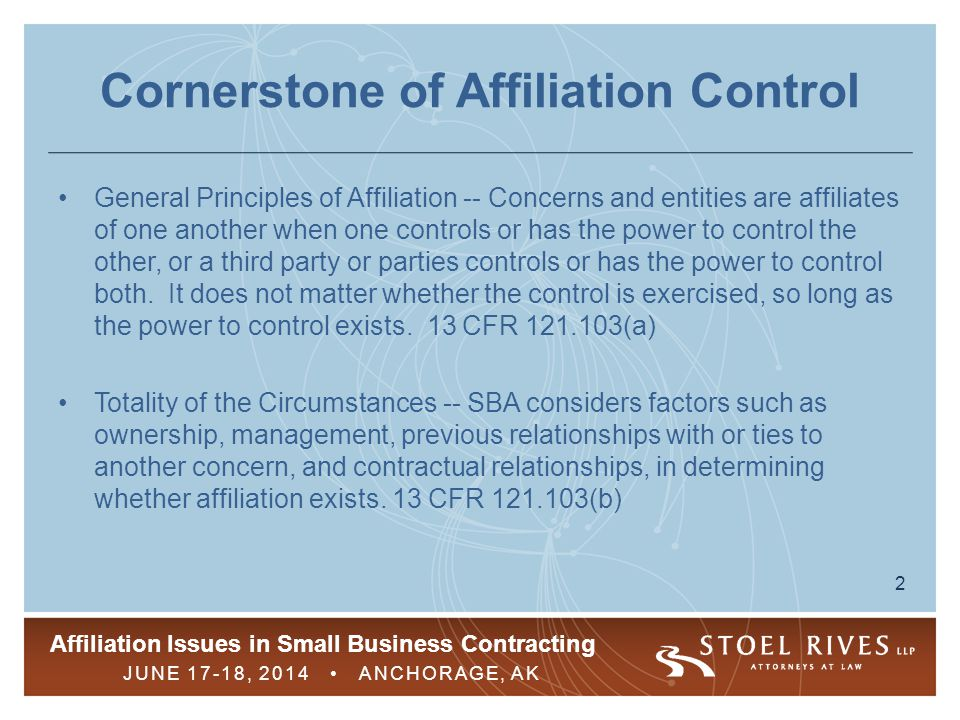 Cornerstone of Affiliation Control