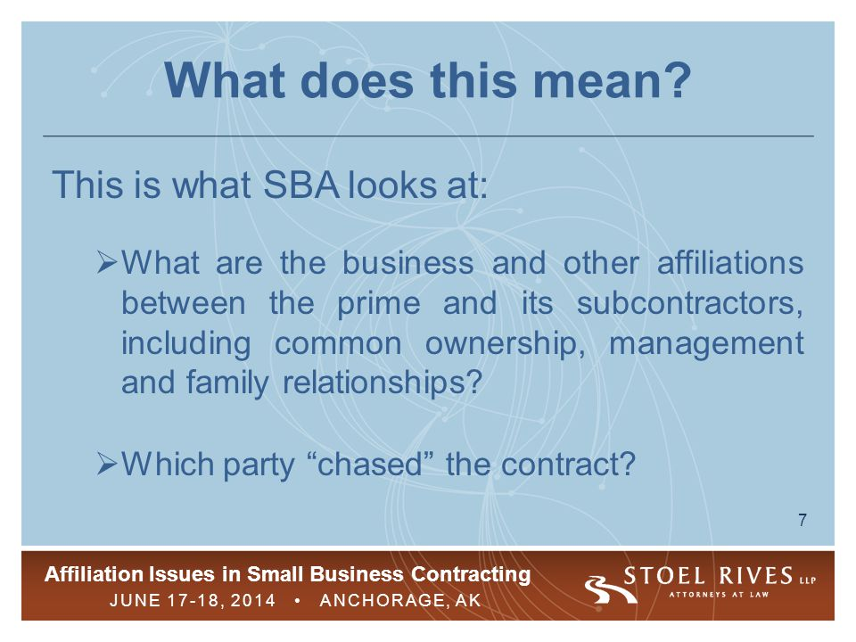 What does this mean This is what SBA looks at: