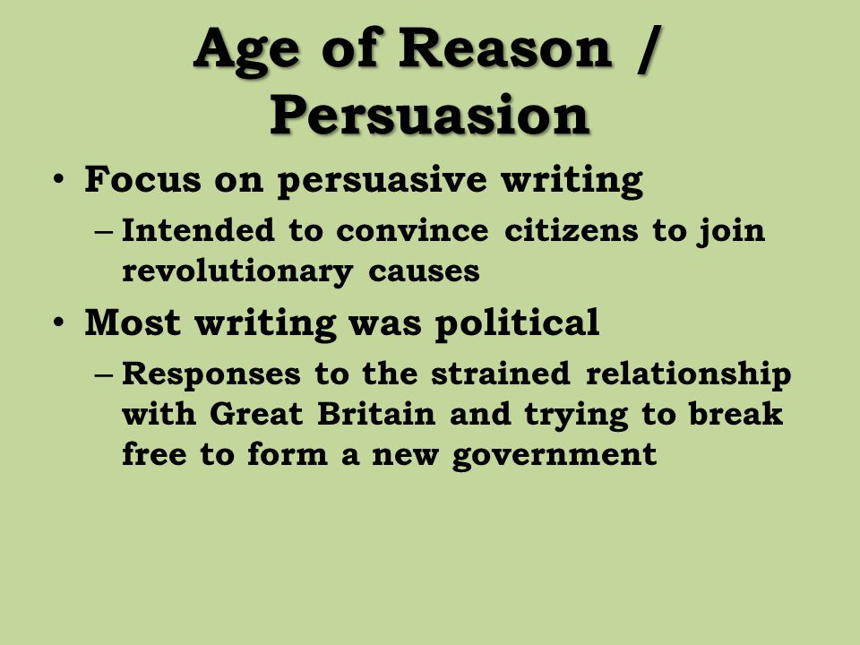 Age of Reason / Persuasion