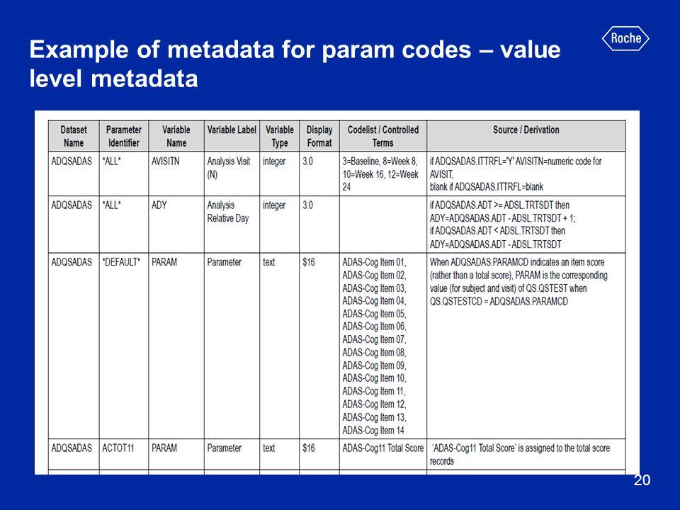 Example of metadata for param codes – value level metadata