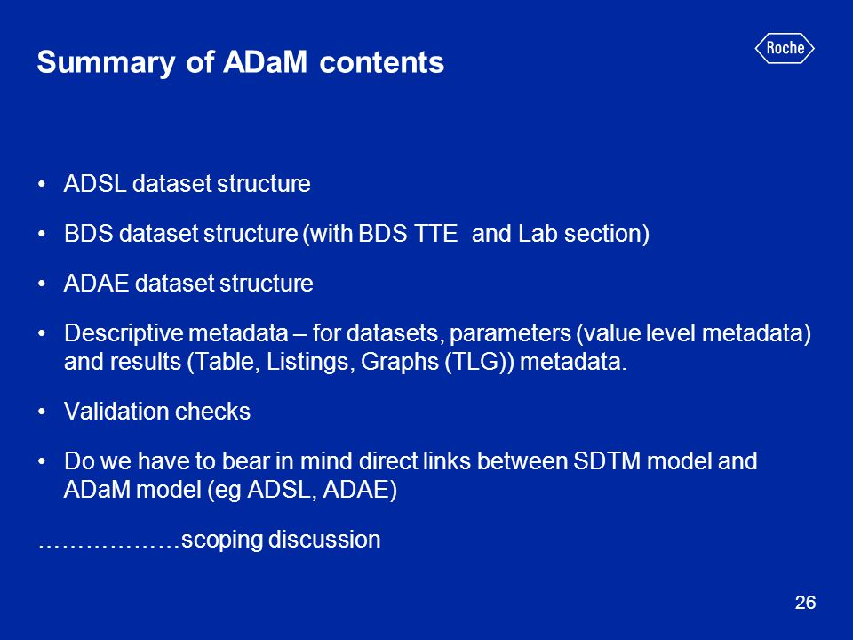 Summary of ADaM contents