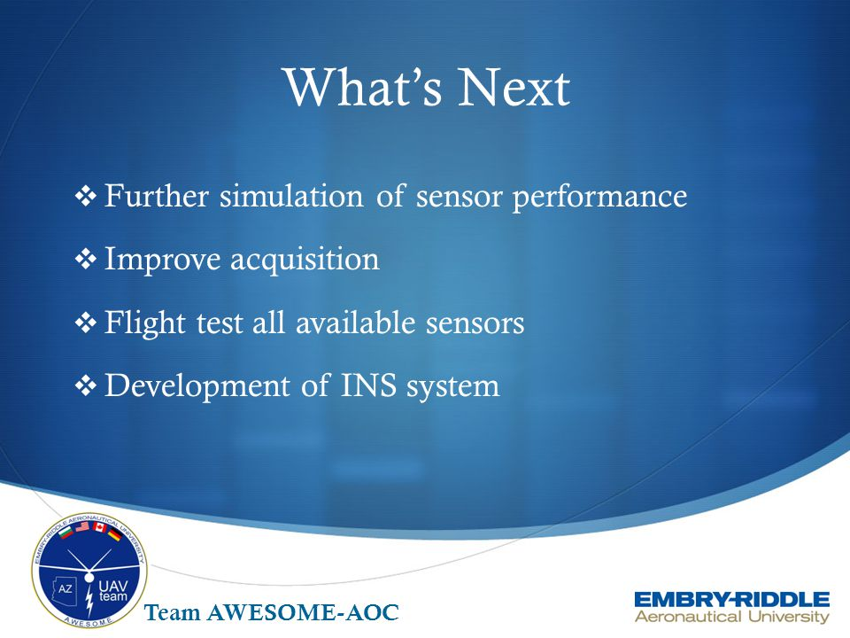What's Next Further simulation of sensor performance