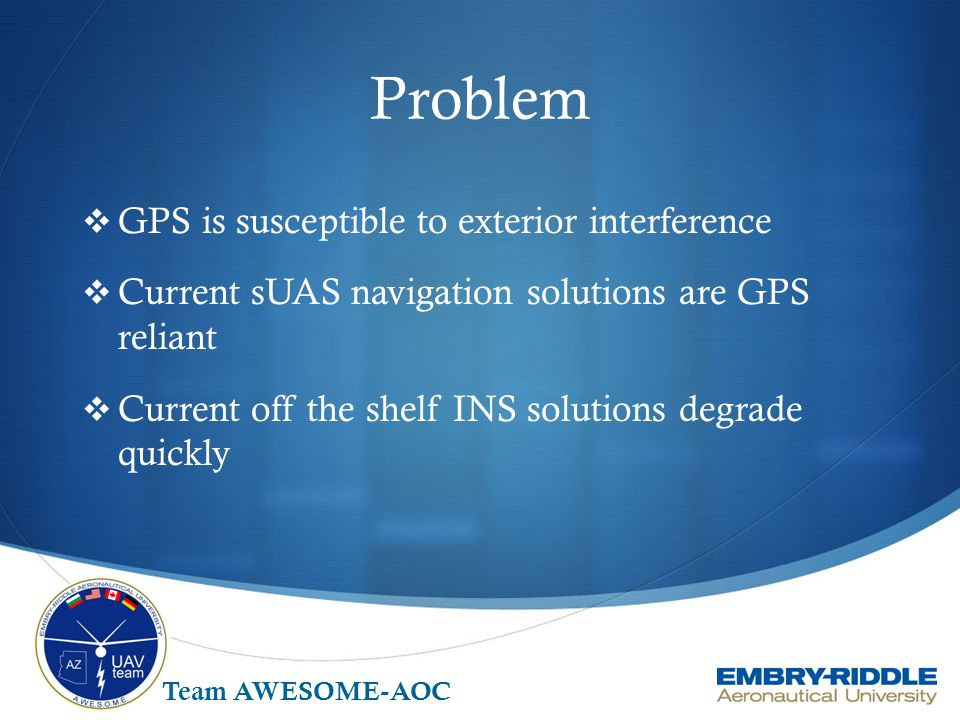 Problem GPS is susceptible to exterior interference