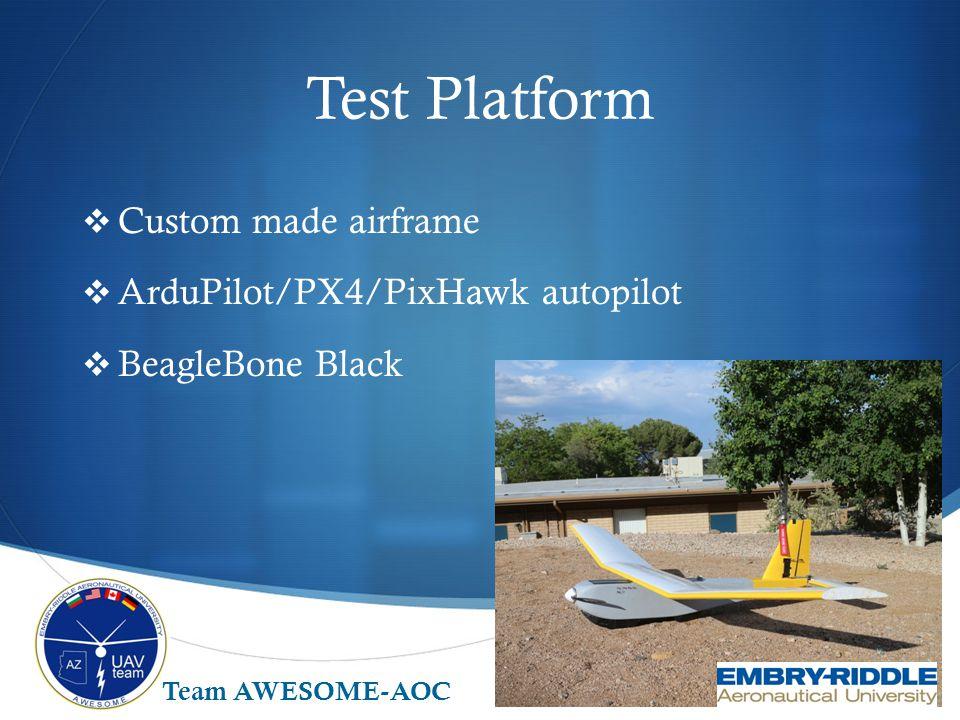 Test Platform Custom made airframe ArduPilot/PX4/PixHawk autopilot