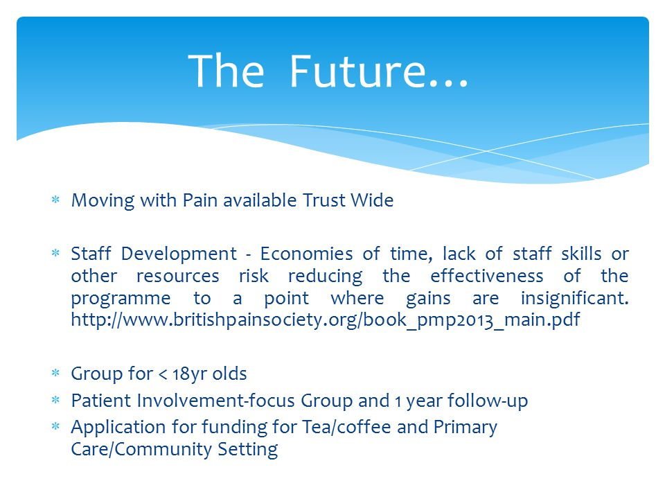 The Future… Moving with Pain available Trust Wide
