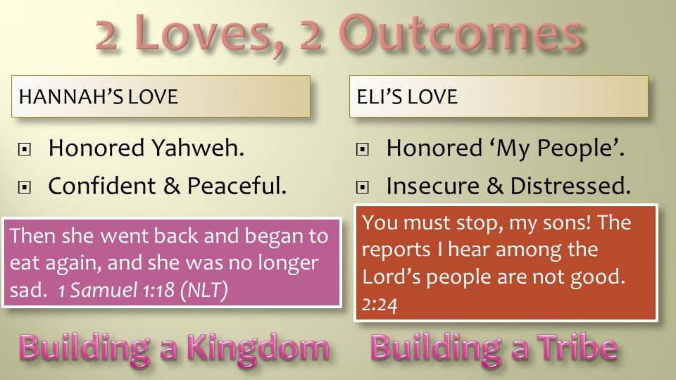2 Loves, 2 Outcomes Building a Kingdom Building a Tribe