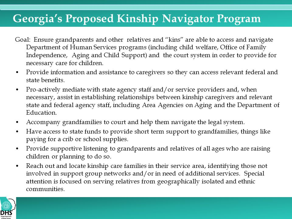 Georgia's Proposed Kinship Navigator Program