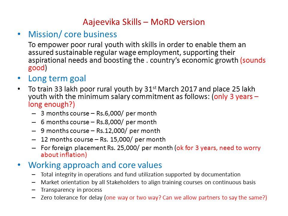 Aajeevika Skills – MoRD version