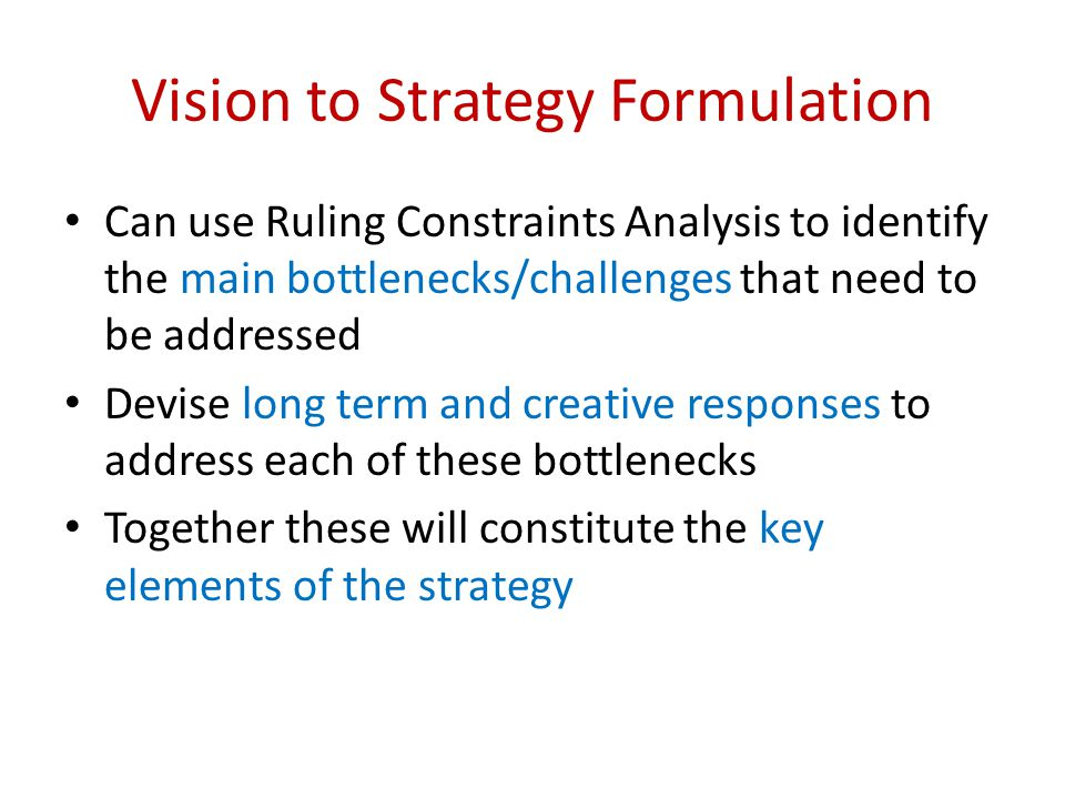 Vision to Strategy Formulation