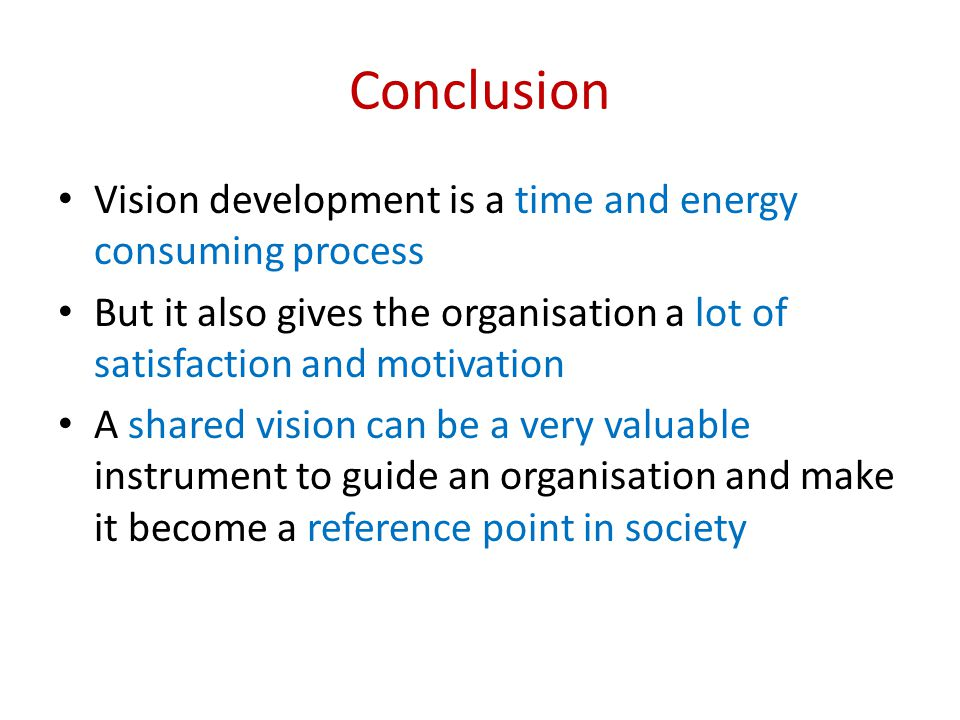 Conclusion Vision development is a time and energy consuming process