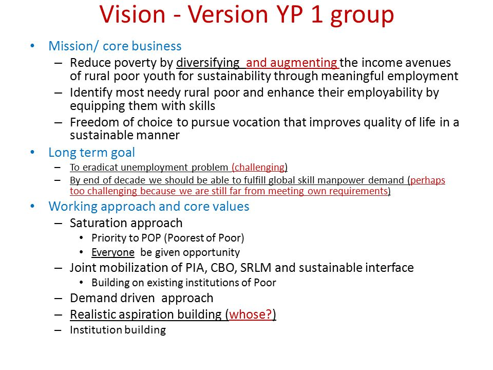 Vision - Version YP 1 group