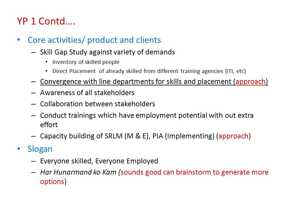 YP 1 Contd…. Core activities/ product and clients Slogan