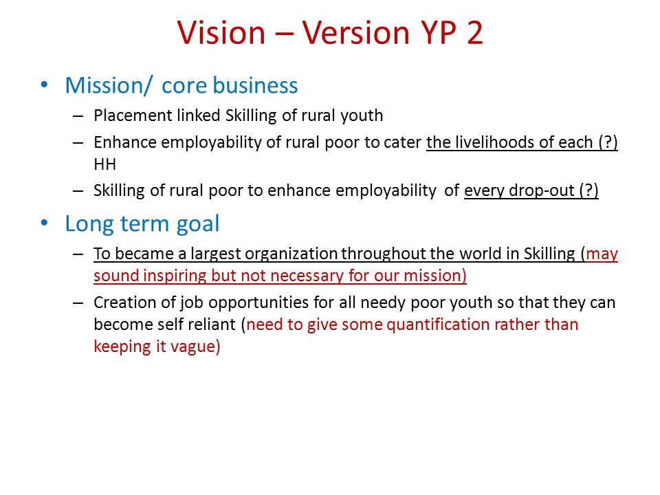 Vision – Version YP 2 Mission/ core business Long term goal