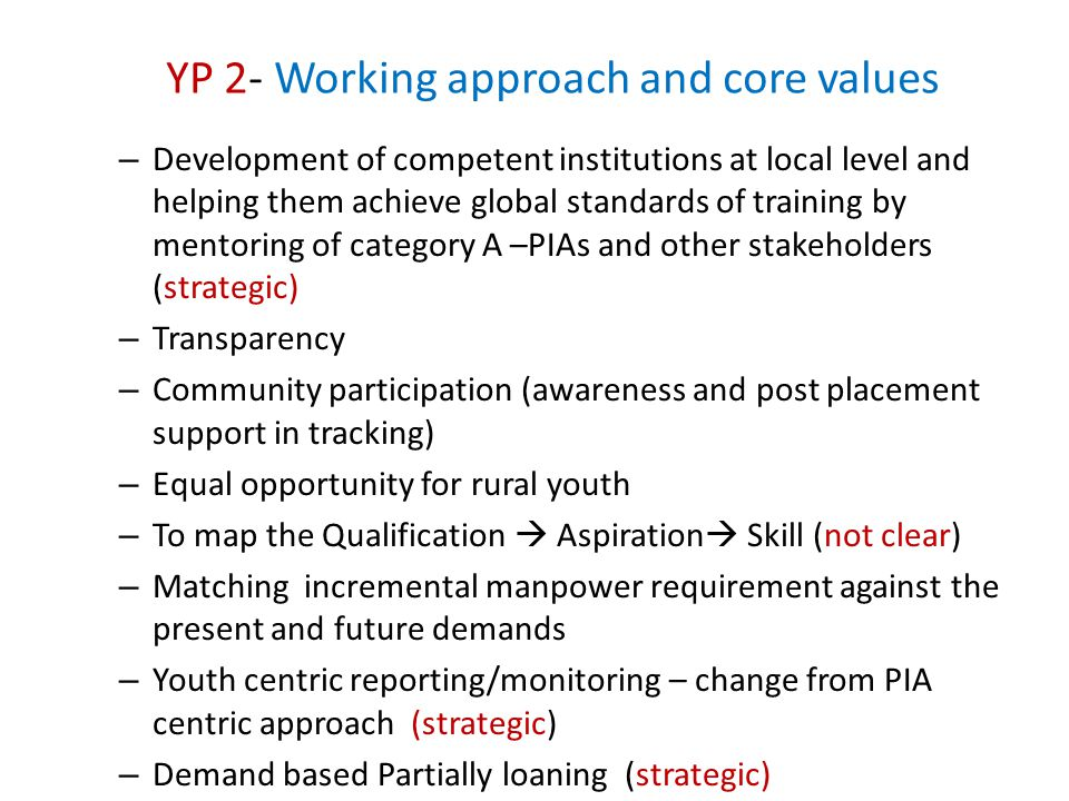 YP 2- Working approach and core values
