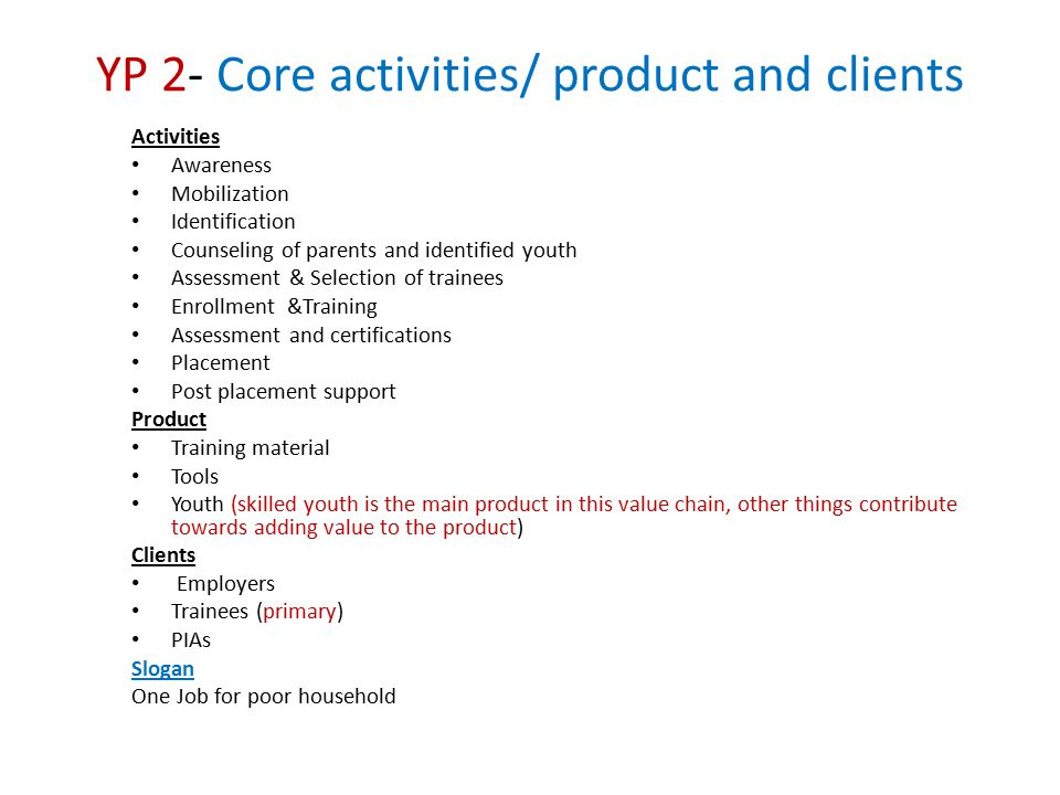 YP 2- Core activities/ product and clients