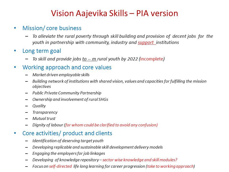 Vision Aajevika Skills – PIA version