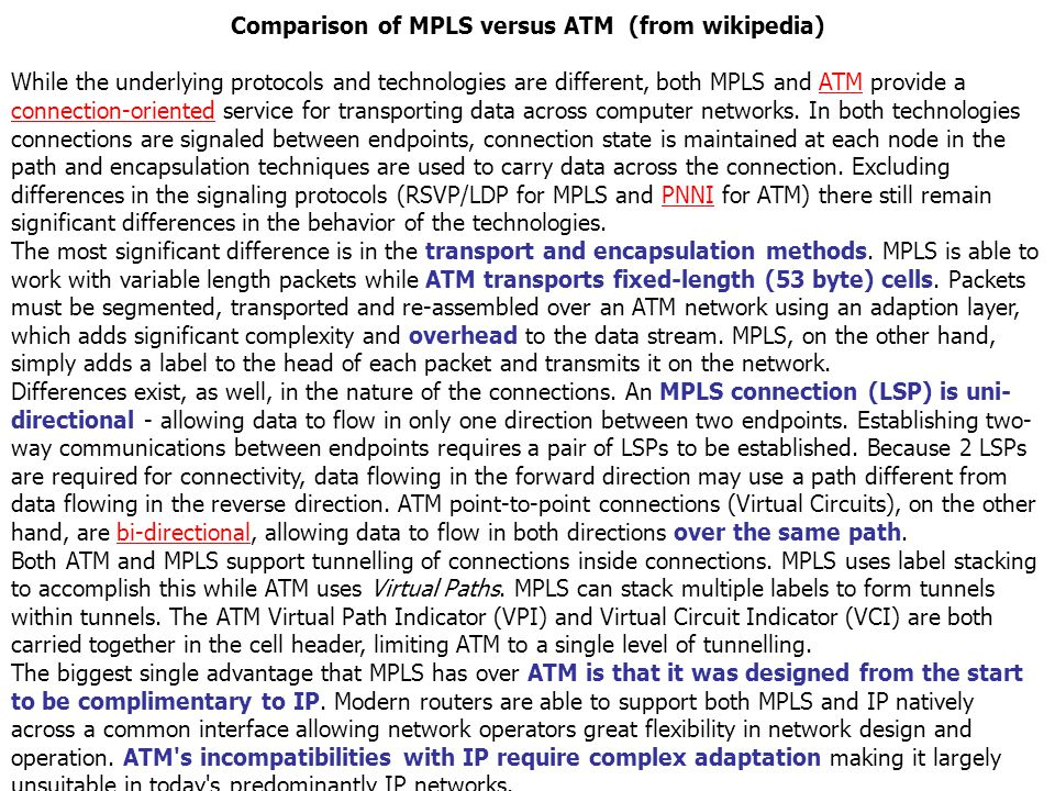 Comparison of MPLS versus ATM (from wikipedia)