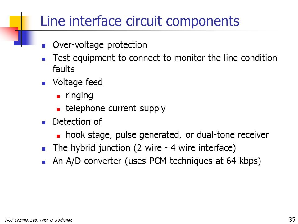 Line interface circuit components