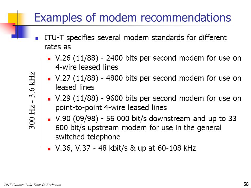Examples of modem recommendations