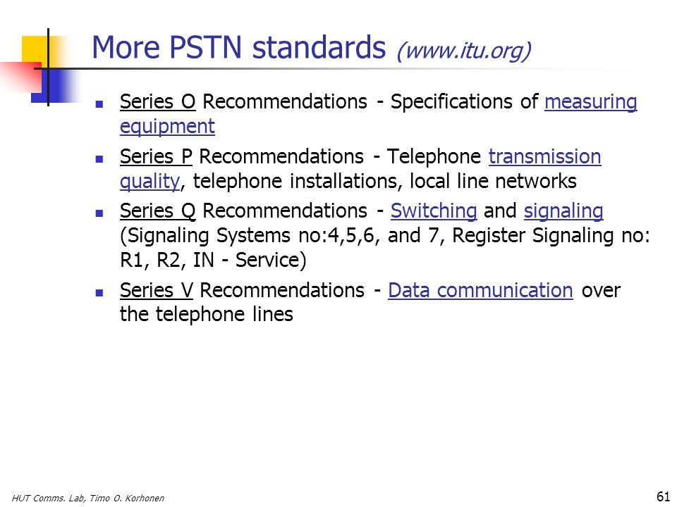 More PSTN standards (www.itu.org)