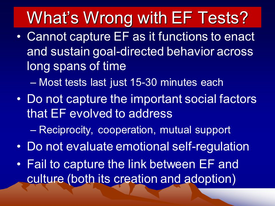 What's Wrong with EF Tests