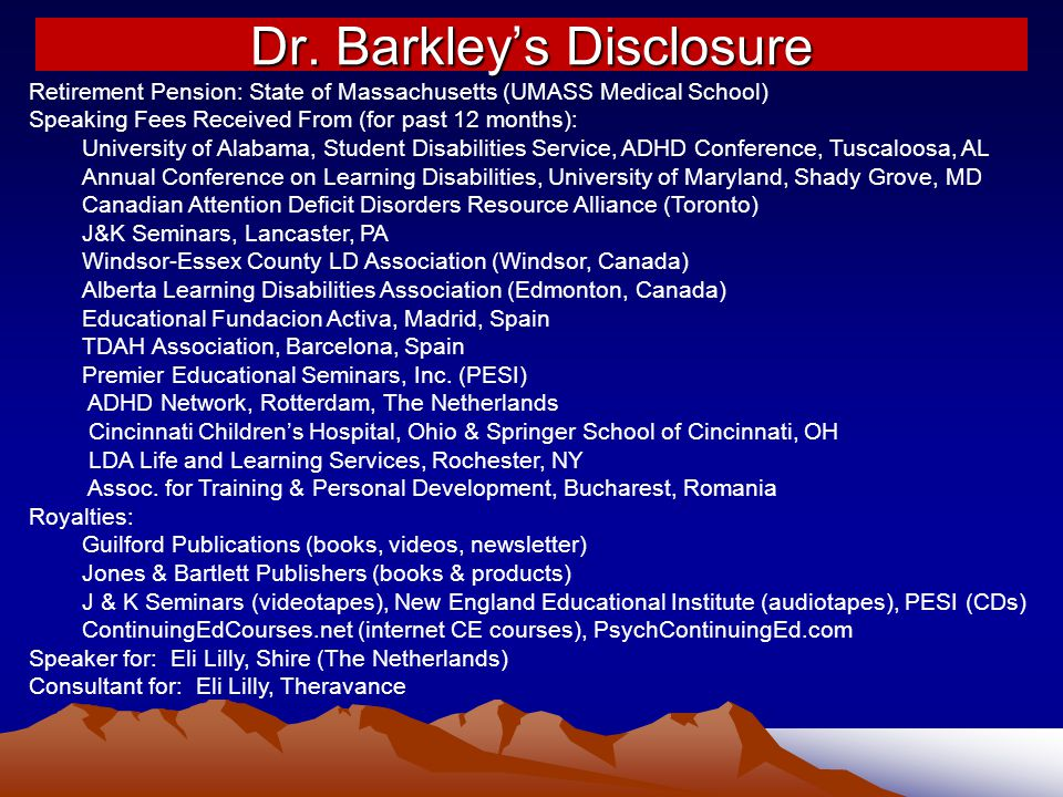 Dr. Barkley's Disclosure