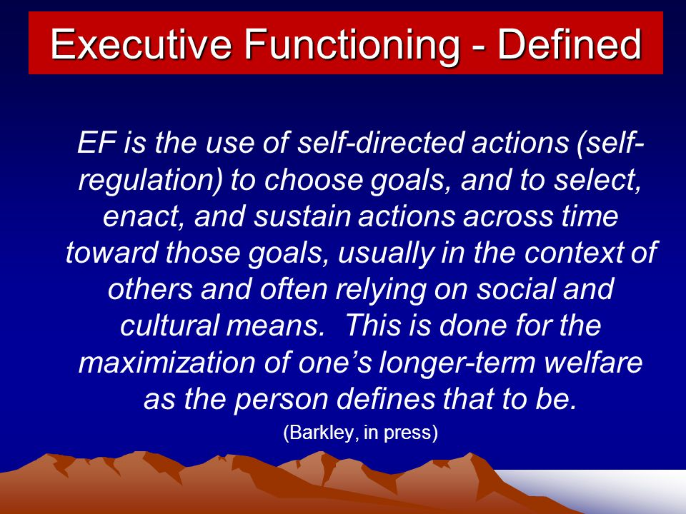 Executive Functioning - Defined
