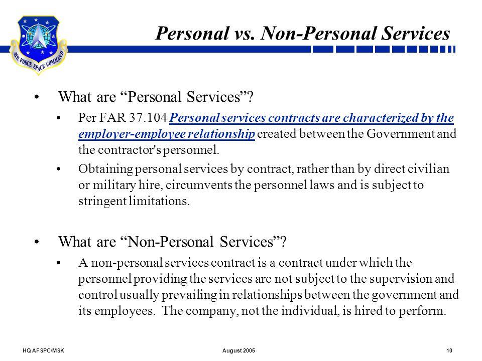 Personal vs. Non-Personal Services