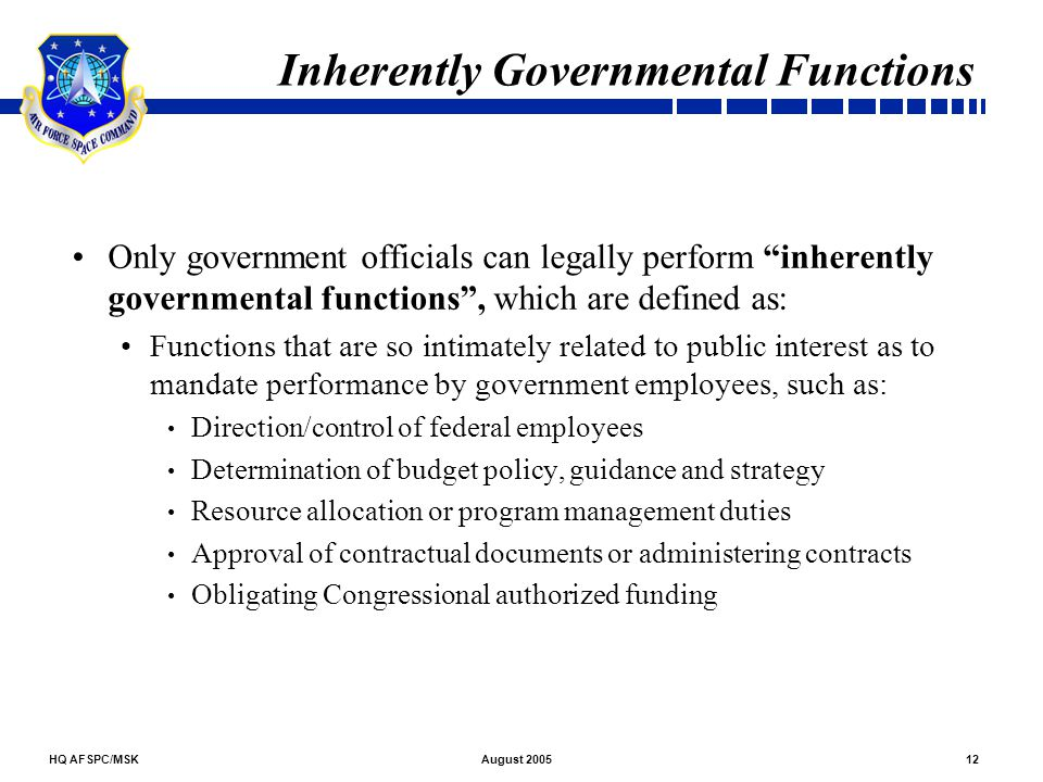 Inherently Governmental Functions