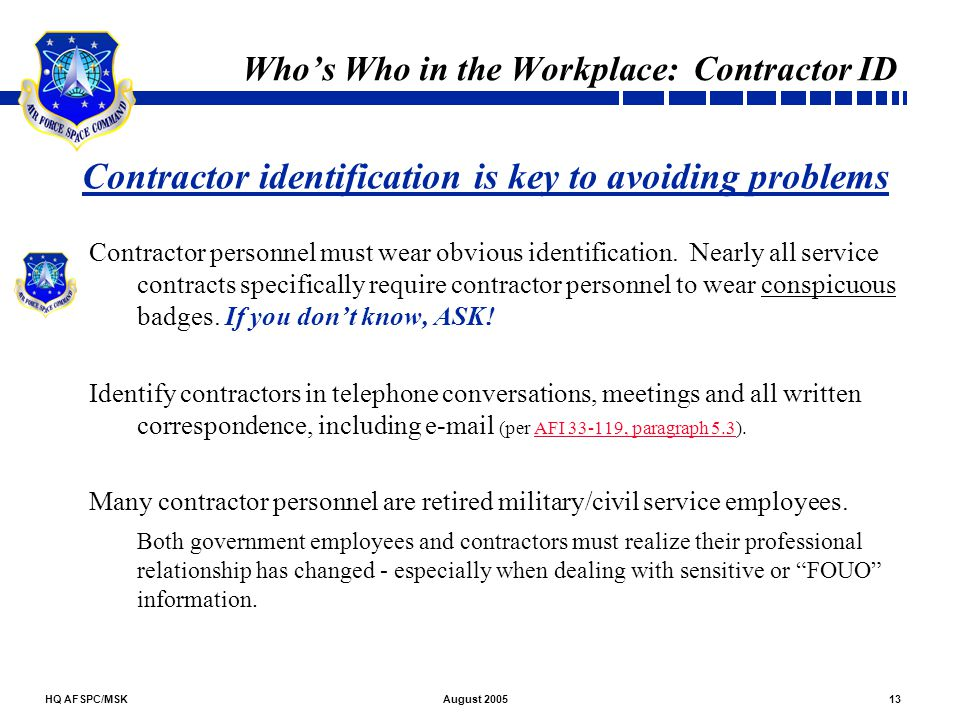 Who's Who in the Workplace: Contractor ID