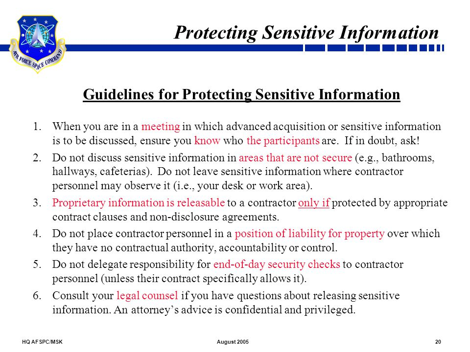 Protecting Sensitive Information