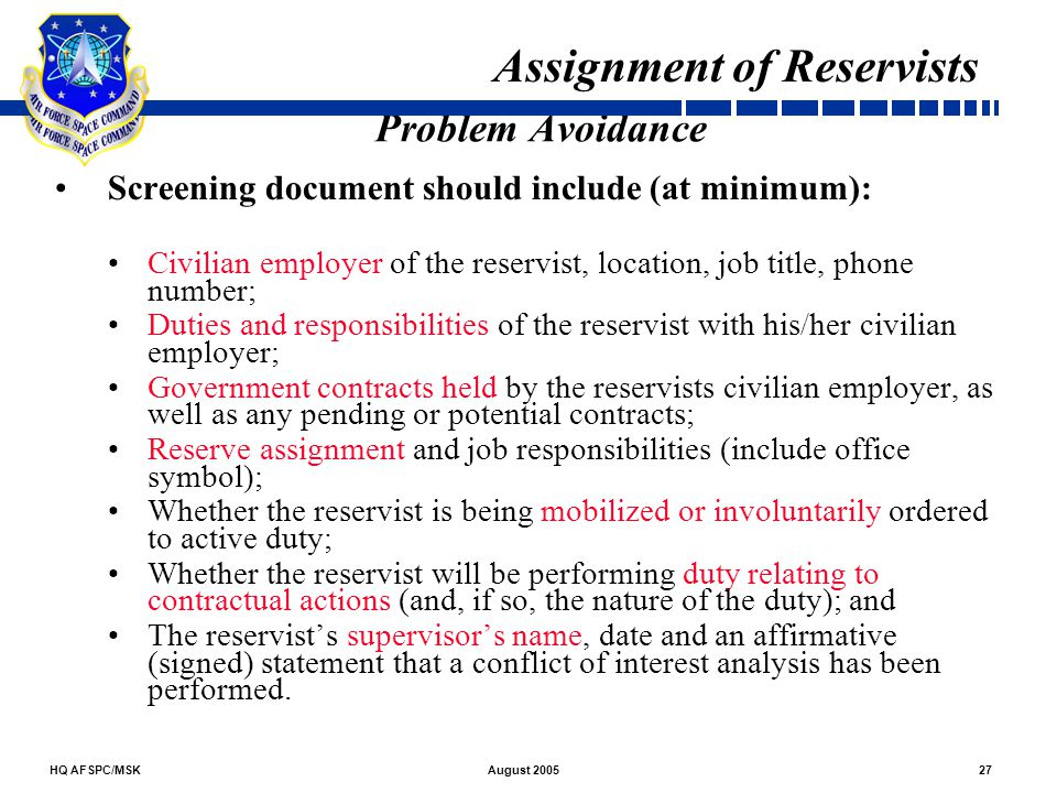 Assignment of Reservists