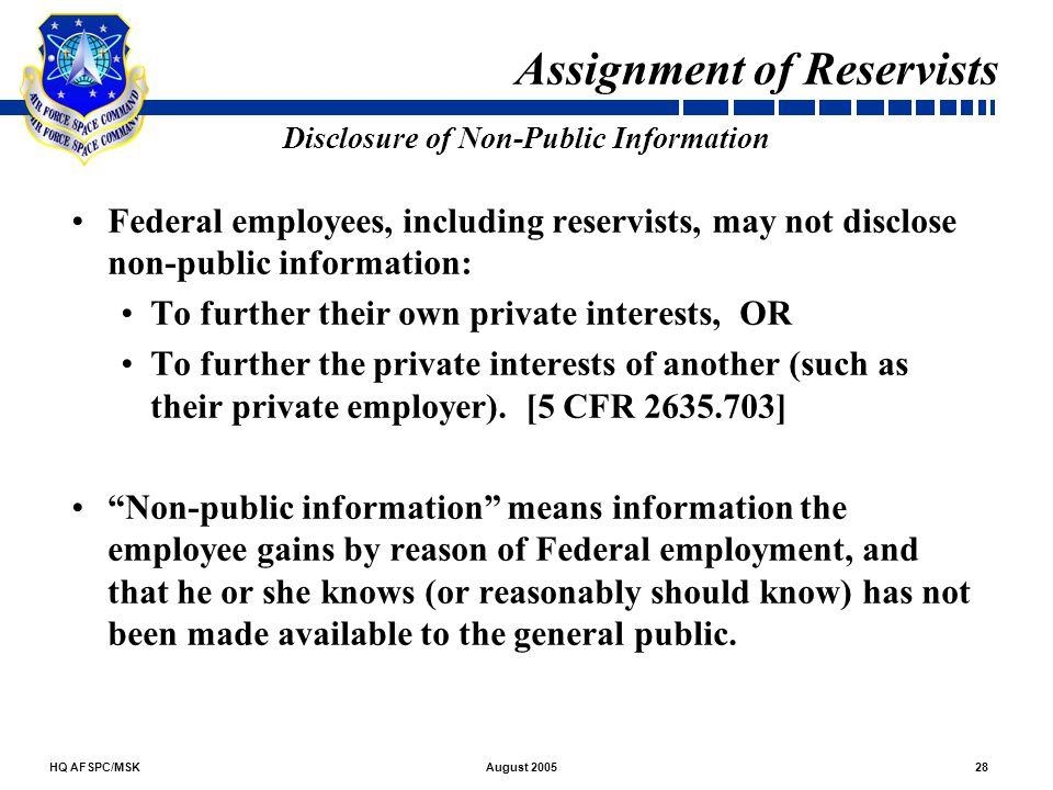 Disclosure of Non-Public Information