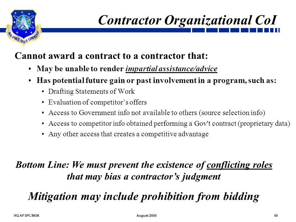 Contractor Organizational CoI